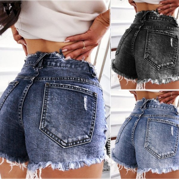 Womail Women's Shorts 1pc Summer Short Casual Women's Denim Shorts Sexy Pleated Denim High Waisted Short 2019 Jun05