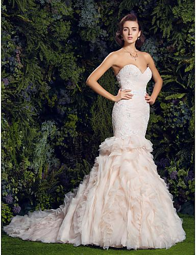 The 2019 new v-neck high-grade sleeveless mermaid wedding dress with floral embellished bridal gown and gown Robes De Mariee