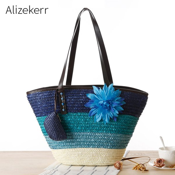 panelled flower handmade straw bag women summer large colourful beach bag wicker ladies casual tote purses and handbags holiday (540726034) photo