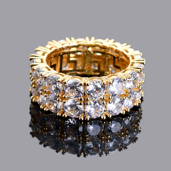 Iced Out Hip Hop Jewelry Men's shining 2 Row Cubic Zirconia Rings gold color silver color R010