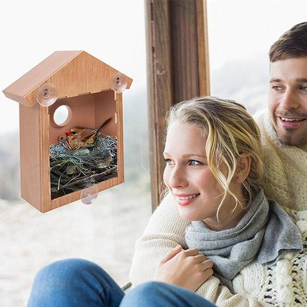bird nest cage innovative outdoor bird feeder one way mirror exquisite feeder with suction cup window decoration pet supplies (544373127) photo