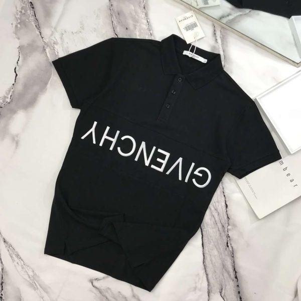 Giv brand clothing for men fabric letter polo t hirt turn down collar ca ual women t hirt tee hirt