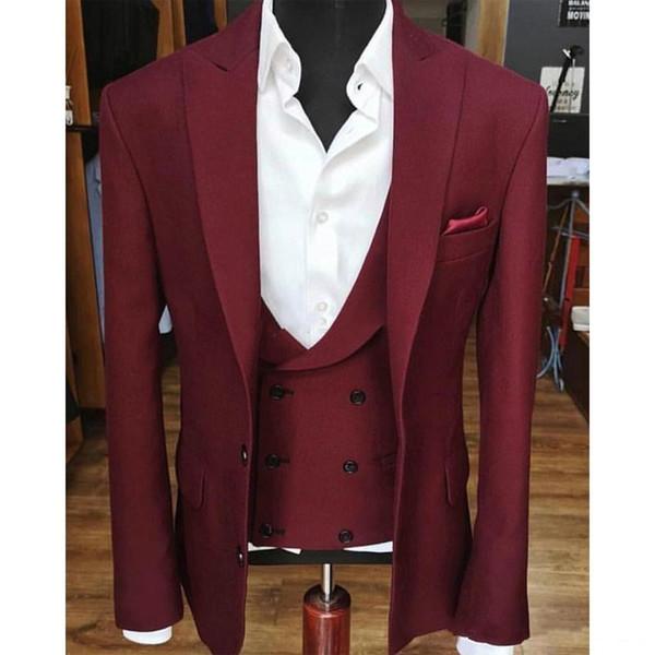 Новый Высокое Качество Две Кнопки Винный Жених Смокинги Пик Отворот Мужчины Костюмы Свадьба / Выпускной / Ужин Лучший Блейзер (Куртка + Брюки + Жилет) 662