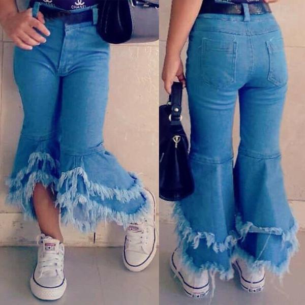 Синий малыш Дети Детские девушки длинные джинсы брюки девушка джинсовые брюки клеш днища 2-7 лет мода рябить брюки ноги клеш Брюки фото