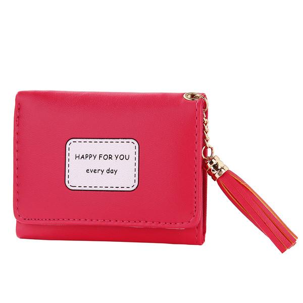 women zipper short wallet pu leather tri-fold cards money coin holder wallet cute tassel purse ka-best (466238472) photo