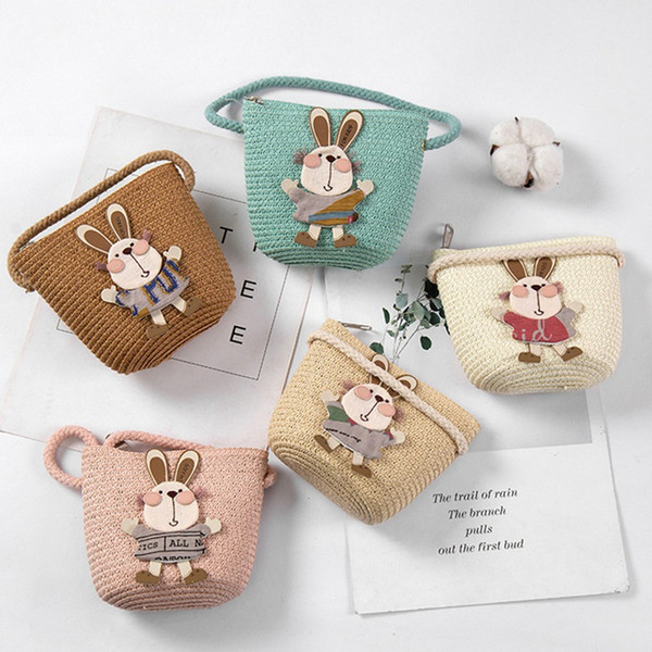 cute animal pattern handmade straw bags children shoulder bags kids cartoon coin purses cute princess handbags (514811450) photo