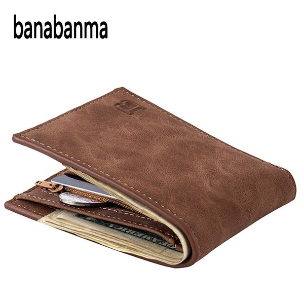 men wallet short bifold pu leather men purses fashion multifunction coin bag zipper small money purses clutch money clip zk30 (494389159) photo