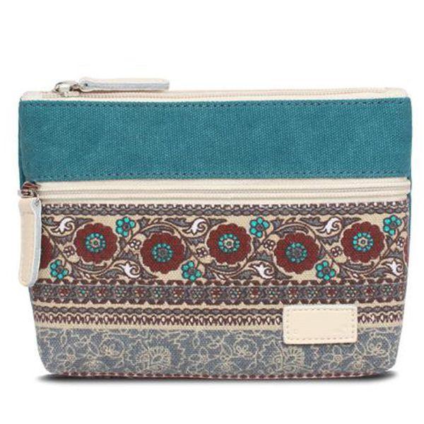 clutch bag national wind purse retro canvas bag zipper storage (502097160) photo