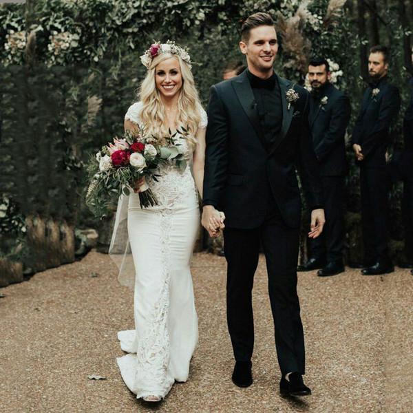 Винтаж черный мужские костюмы жениха свадебные смокинги остроконечные нагрудные жениха нежный пиджак мужчины костюм куртка мужские приталенный Fit 2шт костюм Masculino фото