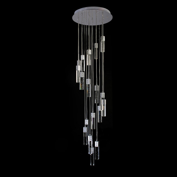 Spiral cry tal chandelier for tair modern living room led cry tal light long hotel hall lu tre cri tal lamp