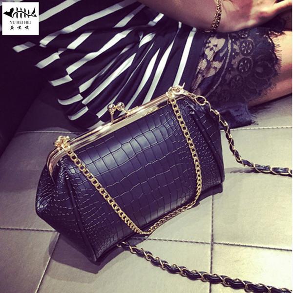 new alligator snake pattern women leather handbag purse bag retro vintage kiss lock lady girl shoulder cross body bags (520123100) photo