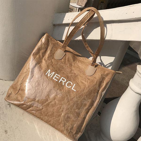 designer luxury handbags purses womens luxury designer bag handbags transparent splicing kraft paper bag tote shopping bag fashion newset 2 (536321296) photo