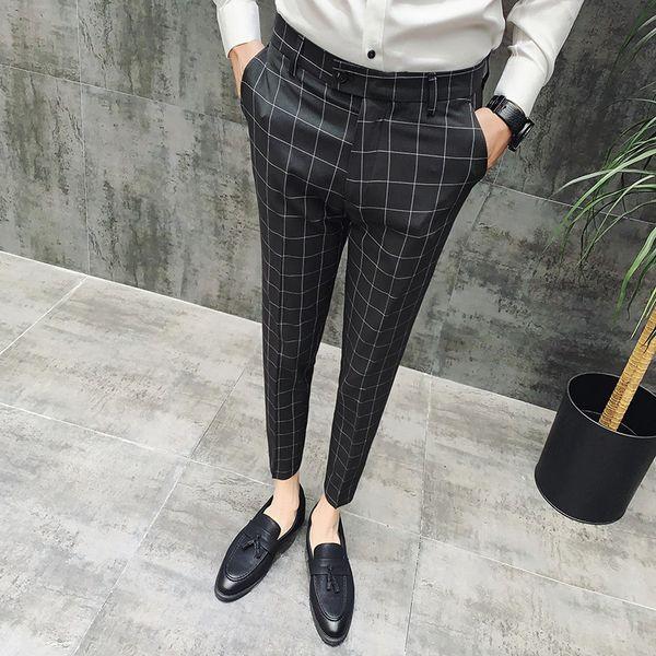 2019 New Plaid Suit Pant Men Brand Designer Gentlemen British Style Dress Suit Pant Man Business Casual Work Men Trousers