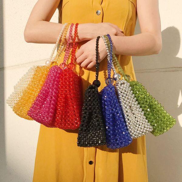 mini retro ladies handbag evening clutch bag clear handmade crystal beaded woven crossbags bride clutch bag purses and handbags (526972204) photo