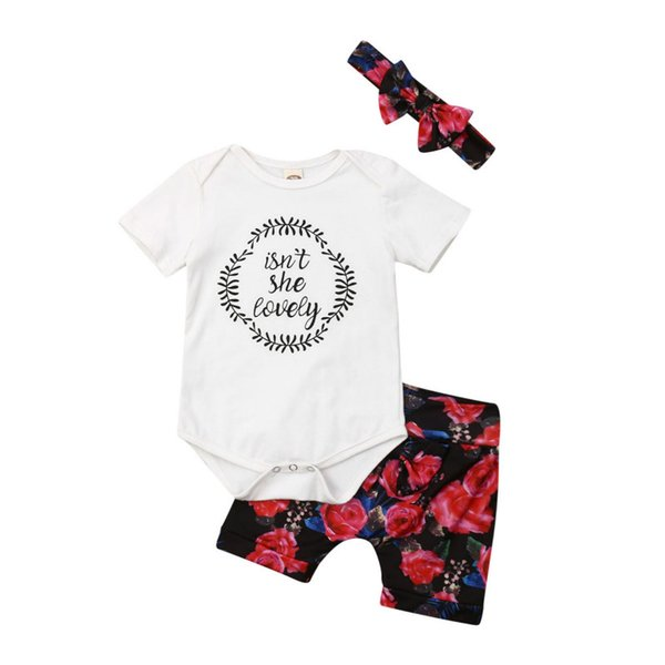 fashion 3pcs newborn kid baby bibs girl soft cotton romper floral printing short pants bowknot headband outfit summer clothes