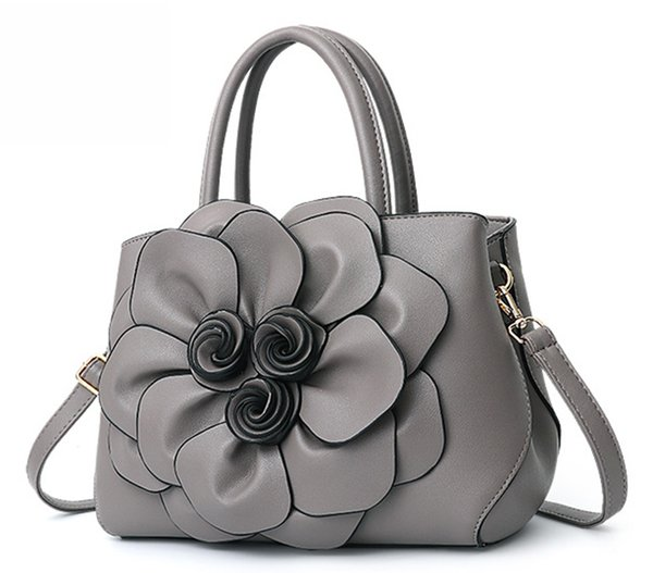 high grade 2 handles leather tote handbag with shoulder strap 3d flower purse (540498069) photo