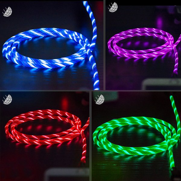Led light u b type c u b c fa t charging data cable charger u b cable for xiaomi huawei  am ung  9  8  mart phone