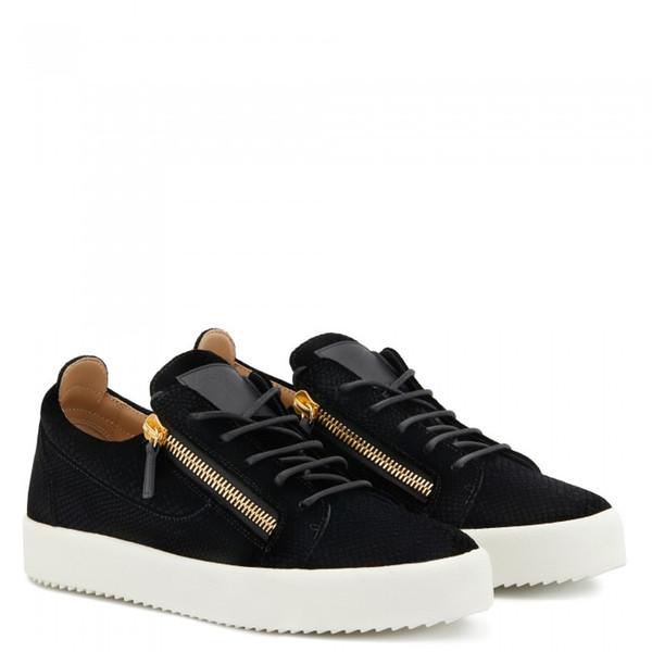 Роскошный дизайнер Gzshoes Frankie Low Top кроссовки из натуральной кожи + молния кроссовки