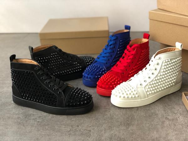 2019 Роскошные дизайнерские туфли с высоким верхом Шипы кроссовки из натуральной к