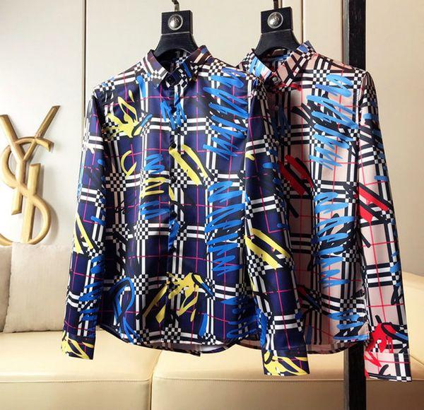 Brand Мужского дизайнерских рубашек с длинным рукавом Firmate рубашка платья вскользь роскошной сорочкой клетчатой рубашкой Homme кнопка Up Tops 011 фото