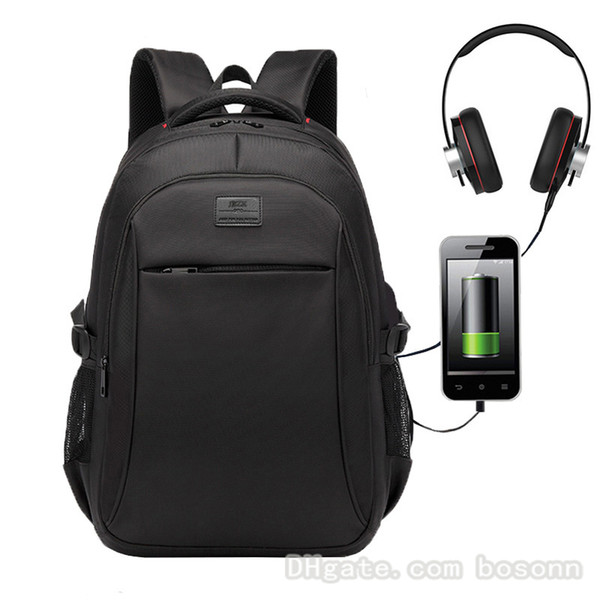 Men's Brand Backpack Waterproof USB Charging Laptop Backpack Fits 15.6 Inch Laptop College School Bag (Black), bosonn, Backpack Style  - buy with discount