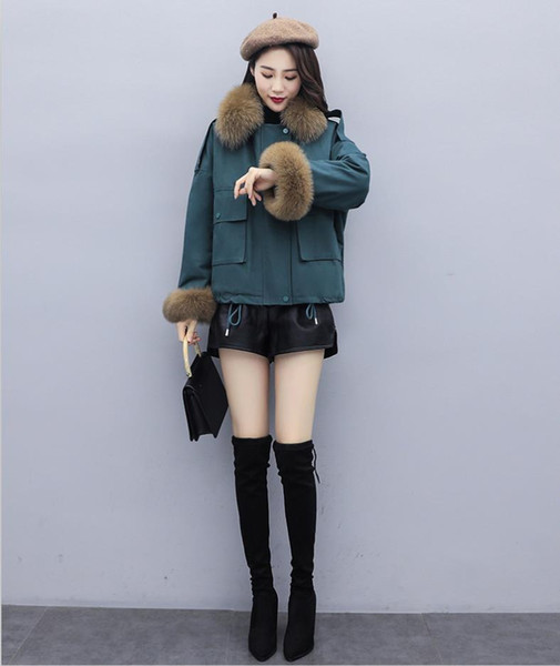 Women Winter Jacket Ladies Real Raccoon Fur Collar Duck Down Inside Warm Coat Femme With All The Tag New Arrive