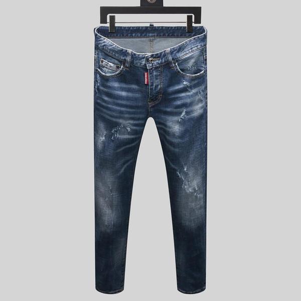 Sale true religions jeans Zippers Skinny Slim Fit Mens Distressed sneakers blue Cotton Denim Jeans Men