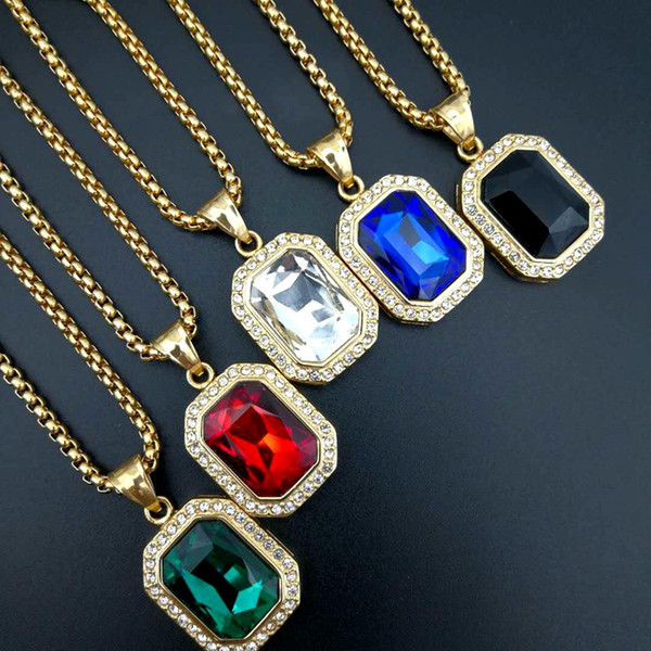 Hip Hop gold color Artificial gem Head Pendant Necklace For Men 316L Stainless Steel Mans Male Jewelry Friendship Gift