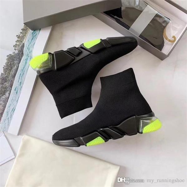 Дизайнер роскошных хлопковые носки высокие кроссовки Кроссовки Натяжные текстурированные вязать черный Повседневная обуви для женщин людей носка ботинок фото