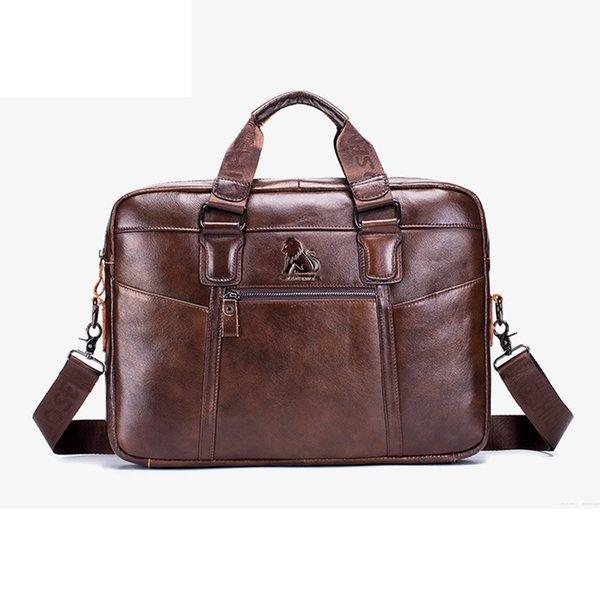 men's genuine leather briefcase casual male totes handbag first layer cowhide business men purse shoulder messenger lapbag (547663443) photo