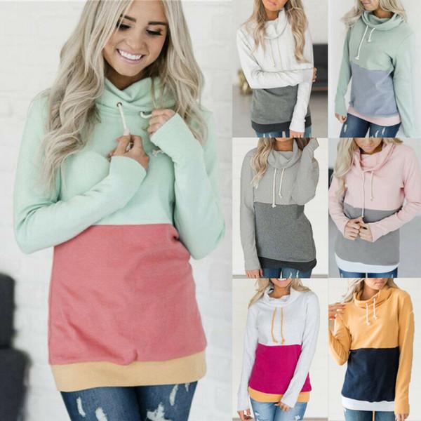 Новая мода Женская толстовка Повседневный Контрастные цвета с длинным рукавом Толстовка Толстовка Jumper Пуловер Tops фото