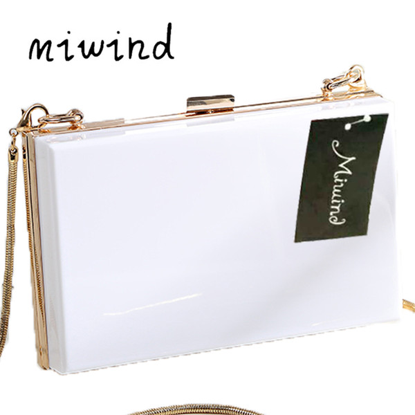 miwind pink satin clutch evening bag chain women clutches bags ladies evening shoulder bag wedding female clutch purses (528869633) photo