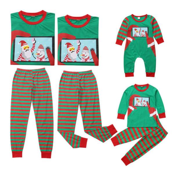 Рождество 2019 семьи соответствующие наряды пижамы взрослые дети младенцы свободного покроя семья Рождество пижамы пижамы для Рождественский подарок фото