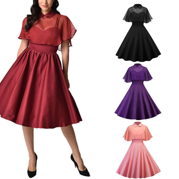 Women's Fashion Gorgeous Vintage 1950s Chiffon Cloak Backless Two-Piece Cocktail Formal Wedding Bridesmaid Evening Party Dress