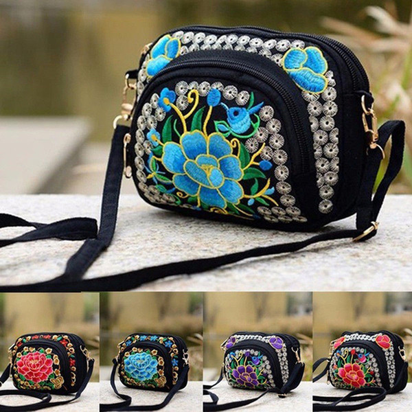 2019 national women crossbody bag floral card money phone bag mini purse retro embroidery wallet pretty gift high quality (486790139) photo