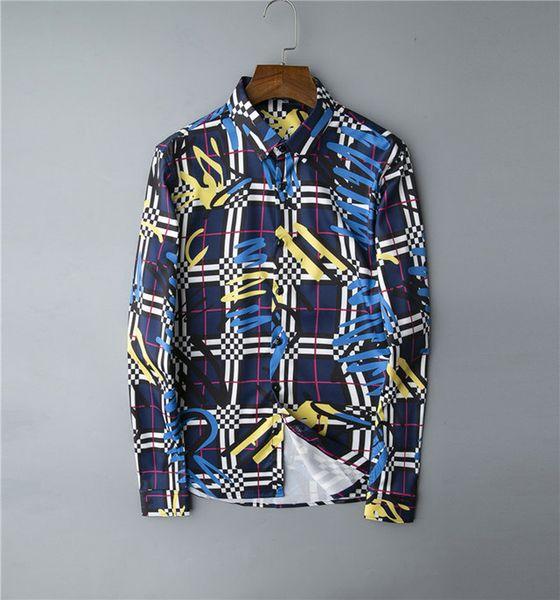 Brand mens designer long sleeve shirts firmate dress shirts fashion casual luxury shirt plaid shirt homme button up 033 фото
