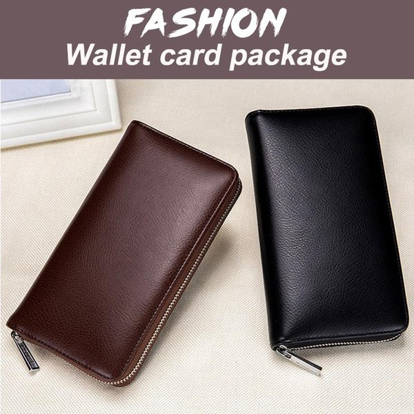 leather wallet mens wallet men's fashion purses antimagnetic 4 colors bags durable big (548220049) photo