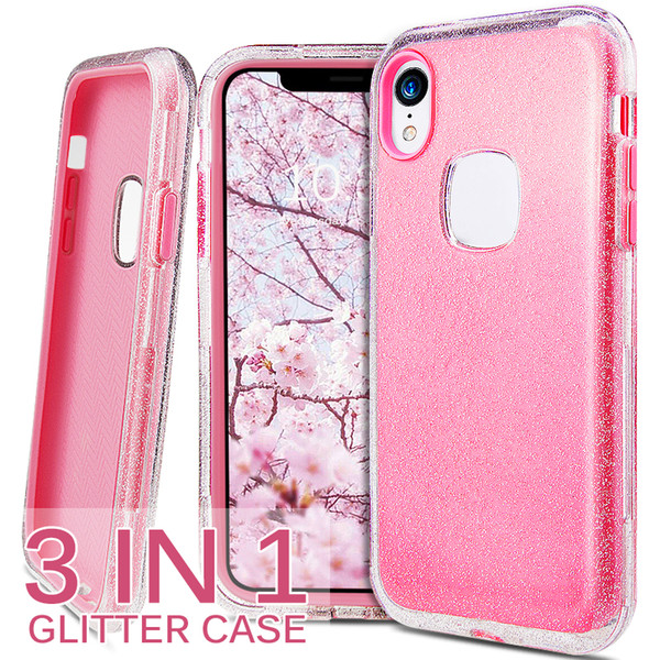 Hybird 3in1 clear  hiny glitter phone ca e pc  ilicone full cover for iphone 6  7 8 plu  x xr x  max bling cellphone ca e