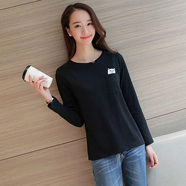 Женская кошка в кармане милые забавные графические топы с длинным рукавом свободная блузка футболка осень женская повседневная блузка черный серый фото