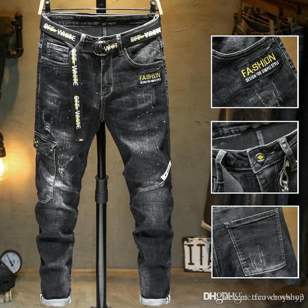 Новые мужские проблемных разорвал байкер джинсы мотоциклов Slim-подходят байкер джинсы для мужчин дизайнер мода дизель мужские джинсы роскошные джинсы фото