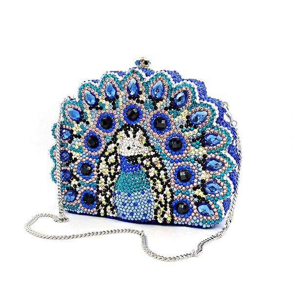 ladies purses bridal wedding party women evening party bag diamonds animal peacock good quality clutches crystal purses (471222192) photo