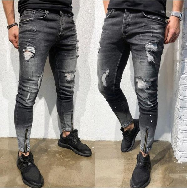 Casual Fashion Elasticity Pencil Pants Youth Hole Personality Mens Pants Gray Foot Zipper Designer Male Jeans