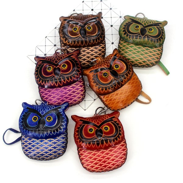 cowhide owl coin wallets womens cartoon zipper genuine leather coin purse little girl purse vintage mini wristlet bag small gift (530449452) photo