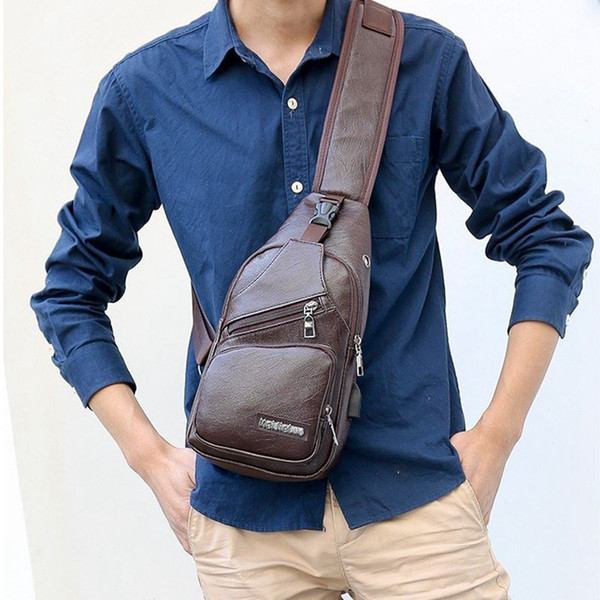 men pu leather small sling bags chest bag usb charging fanny pack shoulder bag /by