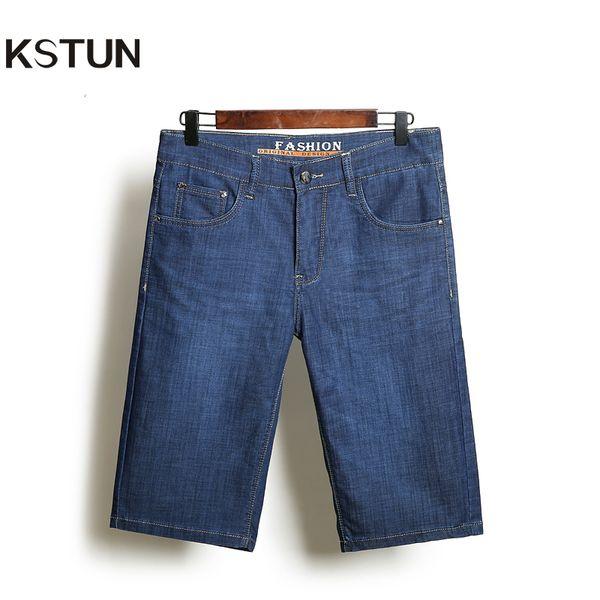 KSTUN Denim Shorts Jeans Men Ultra-Thin Blue Regular Fit Casual Knee Length Shorts Elastic Clothes Large Size 35 38