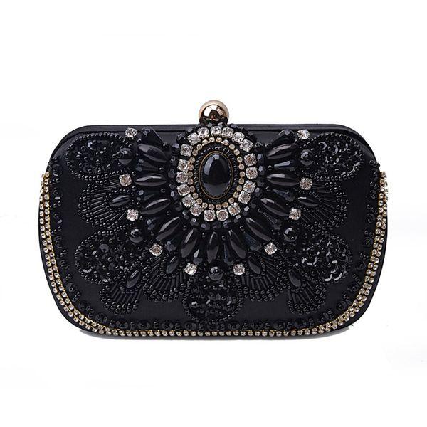 luxury crystal women evening clutch fashion handmade rhinestones evening bag purses vintage satin lady party wedding clutches (485808800) photo