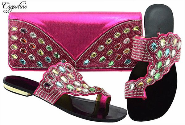 pretty fuchsia with stones african lower heel slipper shoes with purse handbag set for party jzc001 heel height 1.5cm (508876301) photo