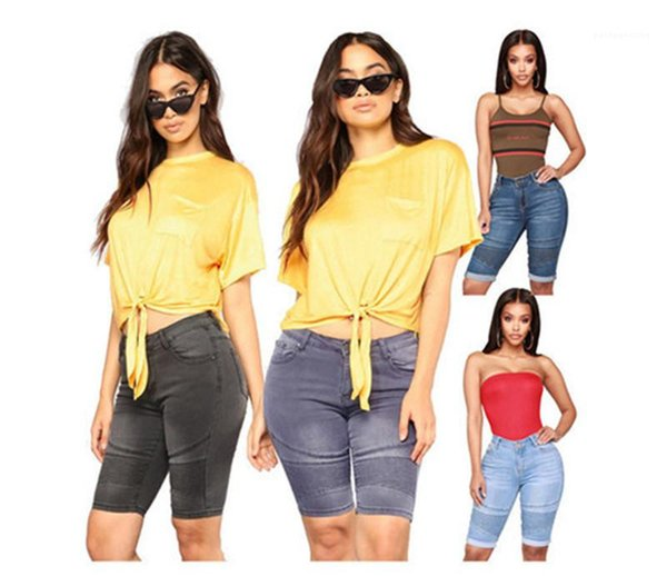 Leisure Style Womens Clothing Womens Designer Summer Knee Length Jeans Cuffs Vintage Skinny Womens Pants Urban