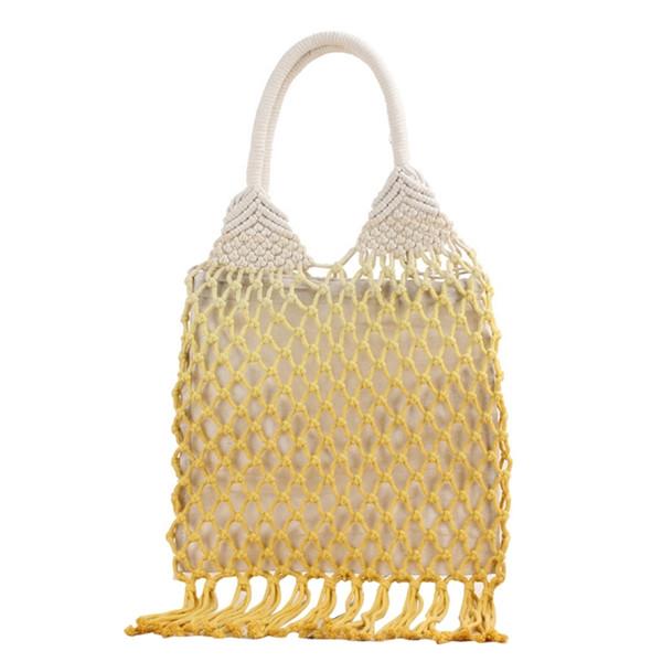 handmade cotton woven womens handbags and purses hollow rope tassel beach female net straw tote evening clutch bags (521622342) photo
