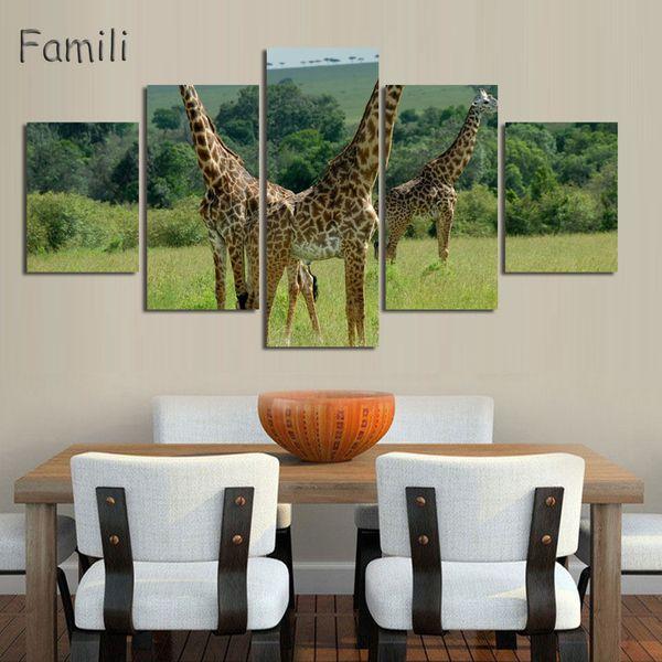 5 Картина Африканских Диких Животных Жираф Картина Отпечатки На Холсте Живопись Росписи Искусства для Дома, Живущего Офис Стены Декор фото